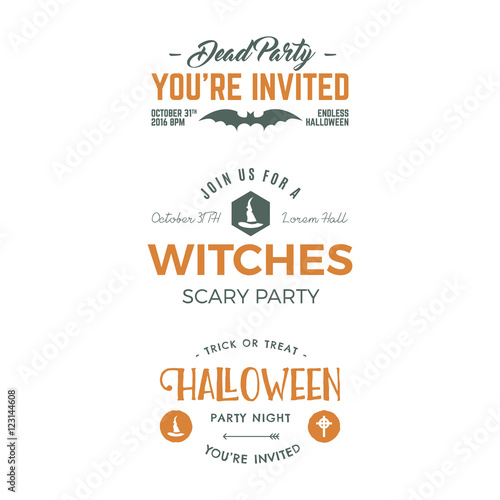 halloween 2016 party invitation label templates with holiday symbols