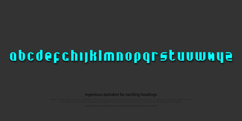 set of stylish alphabet letters isolated on dark background. vector contemporary, bold font type. modern heading character design. decorative typesetting