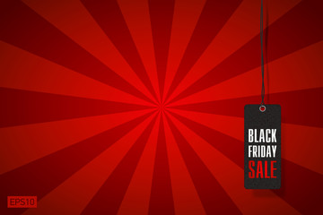 Black Friday Sale, clothing tag, red rays background, vector design
