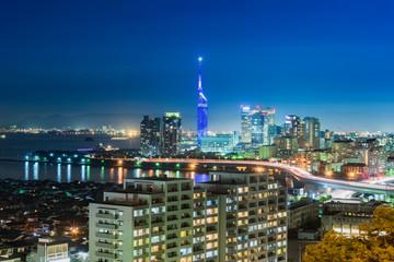 Beautiful Panorama Aerial Night View cityscape of Hakata at Nigth in Fukuoka, Japan. Wall mural
