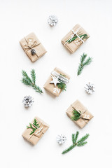 Christmas calendar. Christmas gift, fir branches, pine cones. Flat lay, top view