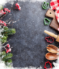 Christmas cooking utensils and snow tree
