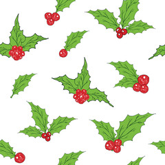 Holly Leaves and Red Berries hand drawn sketch retro, vintage Seamless Pattern. Vector Illustration.