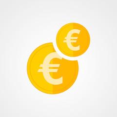 Gold euro icon. Vector illustration.