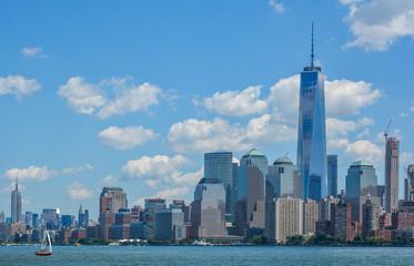 New York cityscape from Ellis Island dock