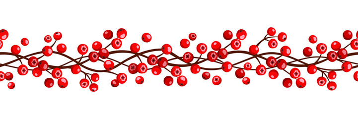 Vector autumn horizontal seamless garland with red rowan berries.