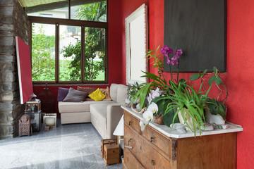 veranda with comfortable divan
