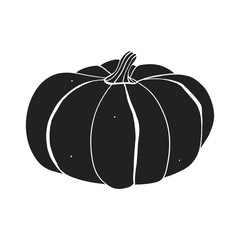 Pumpkin hand drawn  silhouette on the white background