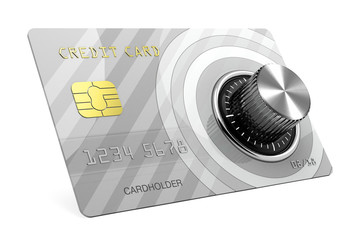 Credit card with lock 3D