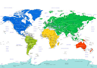 World map, highly detailed vector illustration. Continents