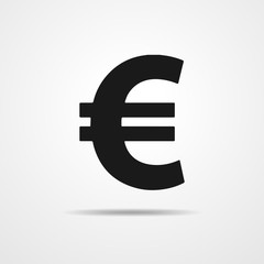 Black euro icon. Vector illustration.