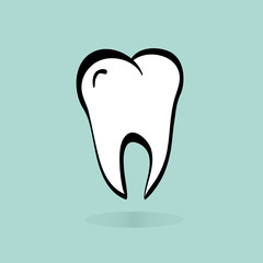 Vector of big tooth. Illustration of vector tooth icon on blue b