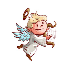Colorful vector illustration of a cartoon cute angel, playing a lyre and flying.