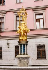 : Sculpture Fountain gold Princess Turandot near Vakhtangov Thea