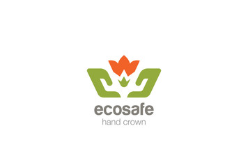 Hands Holding Flower Logo design vector Crown Farm Eco icon