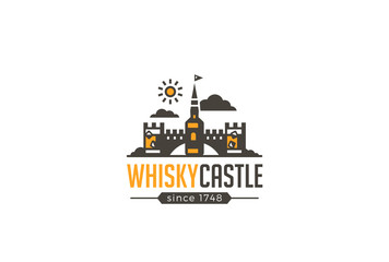 Restaurant Bar Whisky Castle Logo brewery design vector