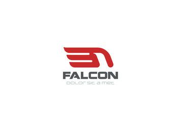 Falcon Logo abstract design vector. Eagle Hawk bird Flying icon