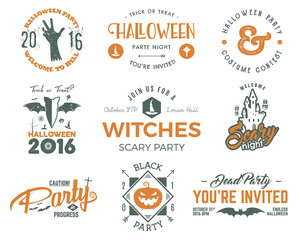 Halloween 2016 party labels templates with scary symbols - zombie hand, witch hat, bat, pumpkin and typography elements. For party posters, flyers, invitations, cards, t shirt, tee web, other identity