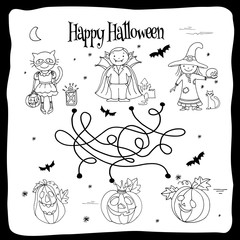 Happy Halloween coloring sheet with labyrinth, kids in costumes and pumpkins, hand drawn vector illustration
