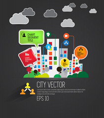 Vector of city skyline with infographics elements