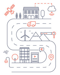 Vector illustration of smart modern city and internet of things cloud service, future technology for living