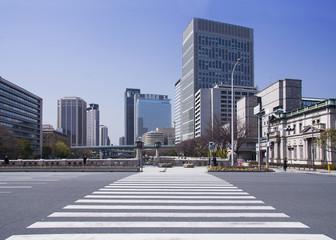 Wide pedestrian crossing in modern city