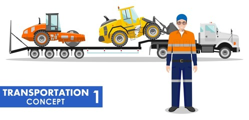 Transportation concept. Detailed illustration of auto transporter, heavy construction machines and driver on white background in flat style. Vector illustration.