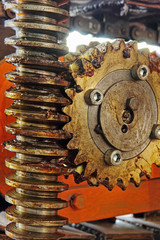 Gear wheel, cogs and screw of industry machine.