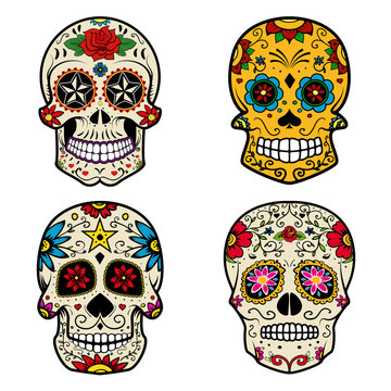 Set of Sugar skulls isolated on white background. Day of the dea
