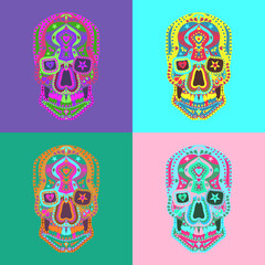 Day of The Dead colorful Skull with geometrical abstract ornament. Set of Mexican Sugar skulls vector illustration. Design for  tattoo, poster, banner, textiles.