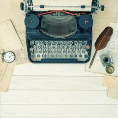 Antique typewriter vintage office tools vintage background