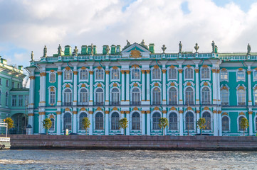 Hermitage or Winter Palace on the embankment of Neva river in St Petersburg,Russia - architecture landmark