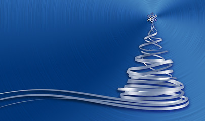Christmas Tree From White Tapes Over Blue Metal Background