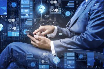 Businessman in data management concept
