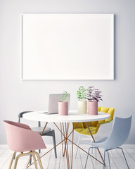 mock up blank poster on the wall of hipster living room, 3D rendering, 3D illustration