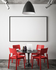 mock up blank poster on the wall of hipster meeting room, 3D rendering, 3D illustration