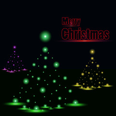 Shiny Christmas tree in black poster