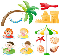 Children swimming and beach objects