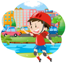 Boy rollerskates in the city