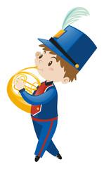 Boy in blue uniform playing french horn