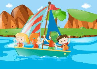Four kids sailing boat in river