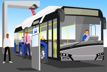 Electric blue-grey bus loaded with pantograph at the bus stop isolated