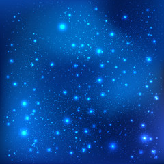Dark blue galaxy background with light, stars. Vector Illustration. Xmas and New Year