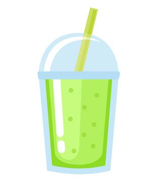 Green smoothie on white background.