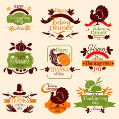 Thanksgiving emblems for greeting card design