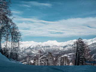 Fototapete - Beautiful landscape of snowy mountains, panorama