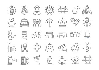 Set Vector Flat Line Icons UK