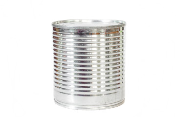 Can food silver tin canned on white background.