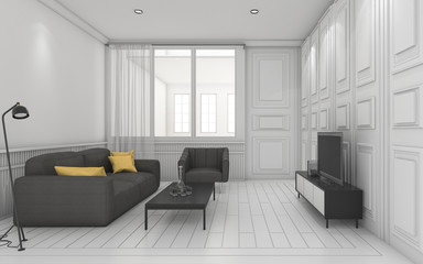 3d rendering white classic living room with nice furniture