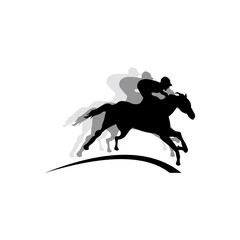 Jumping and Running Equestrian Horse with Jockey Logo